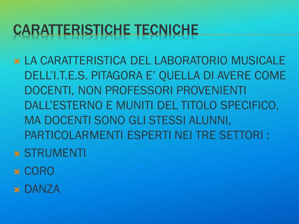LA CARATTERISTICA DEL LABORATORIO MUSICALE DELLI.T.E.S. PITAGORA E QUELLA DI AVERE COME DOCENTI, NON PROFESSORI PROVENIENTI DALLESTERNO E MUNITI DEL T