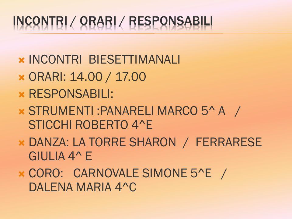 INCONTRI BIESETTIMANALI ORARI: 14.00 / 17.00 RESPONSABILI: STRUMENTI :PANARELI MARCO 5^ A / STICCHI ROBERTO 4^E DANZA: LA TORRE SHARON / FERRARESE GIU