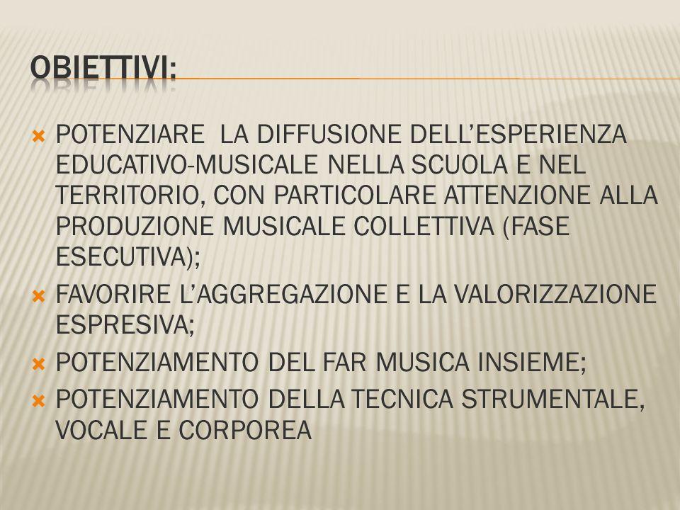 POTENZIARE LA DIFFUSIONE DELLESPERIENZA EDUCATIVO-MUSICALE NELLA SCUOLA E NEL TERRITORIO, CON PARTICOLARE ATTENZIONE ALLA PRODUZIONE MUSICALE COLLETTI