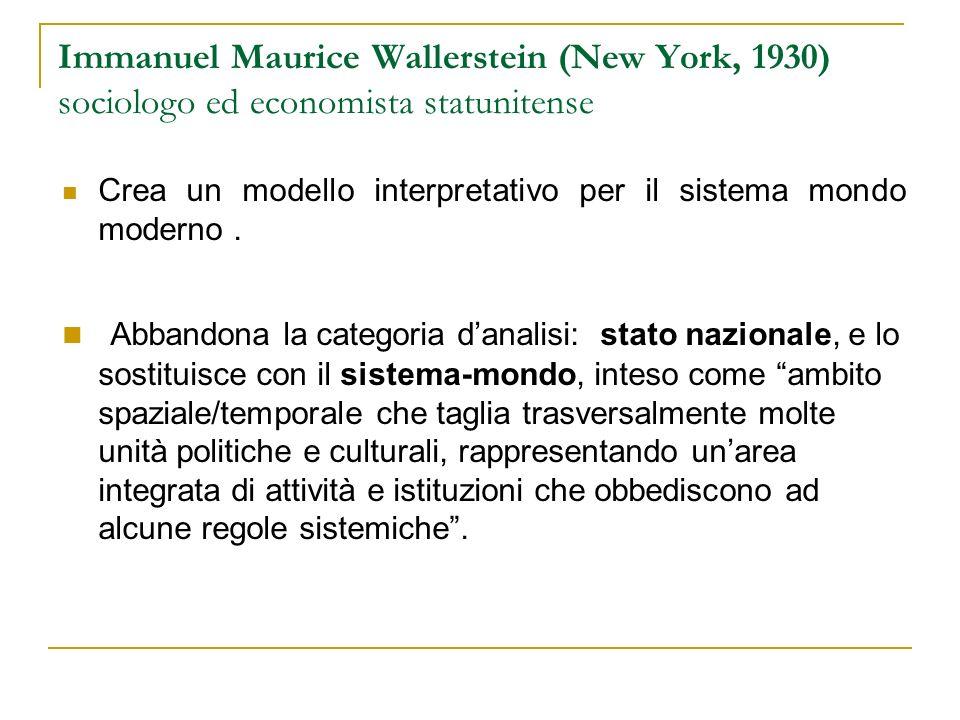Immanuel Maurice Wallerstein (New York, 1930) sociologo ed economista statunitense Crea un modello interpretativo per il sistema mondo moderno. Abband