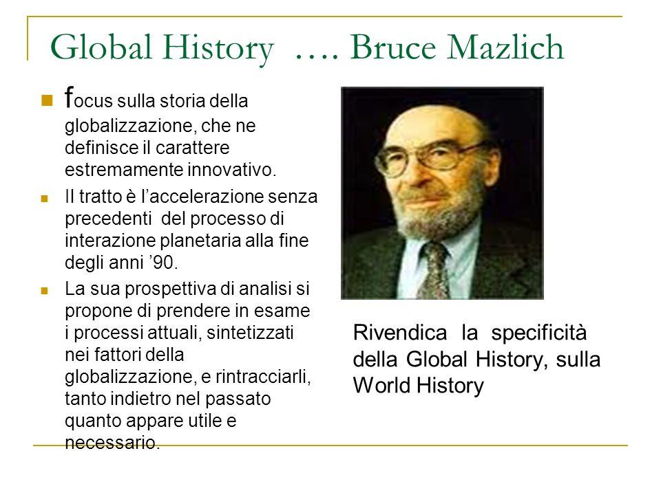 Global History …. Bruce Mazlich f ocus sulla storia della globalizzazione, che ne definisce il carattere estremamente innovativo. Il tratto è lacceler