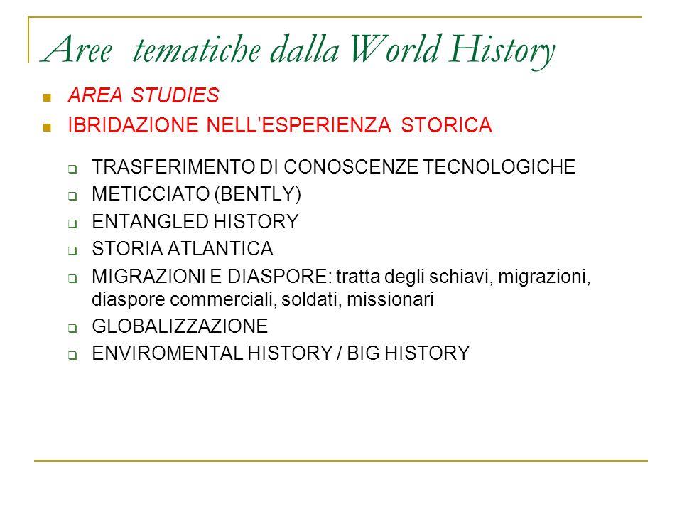 Aree tematiche dalla World History AREA STUDIES IBRIDAZIONE NELLESPERIENZA STORICA TRASFERIMENTO DI CONOSCENZE TECNOLOGICHE METICCIATO (BENTLY) ENTANG