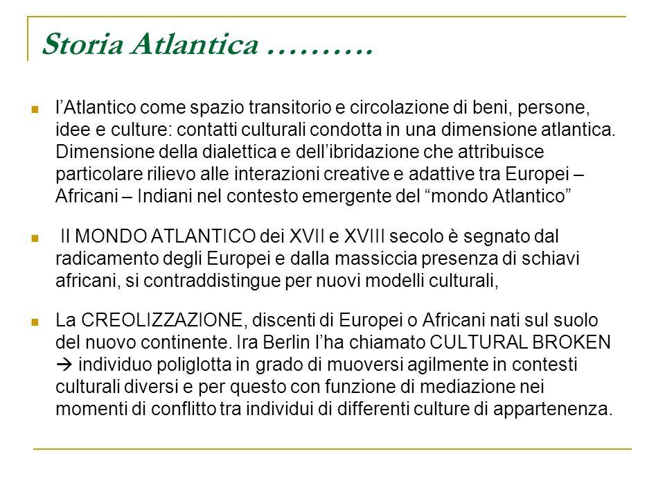 Storia Atlantica ………. lAtlantico come spazio transitorio e circolazione di beni, persone, idee e culture: contatti culturali condotta in una dimension