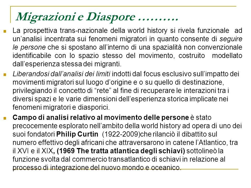 Migrazioni e Diaspore ………. La prospettiva trans-nazionale della world history si rivela funzionale ad unanalisi incentrata sui fenomeni migratori in q