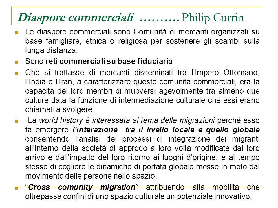 Diaspore commerciali ………. Philip Curtin Le diaspore commerciali sono Comunità di mercanti organizzati su base famigliare, etnica o religiosa per soste