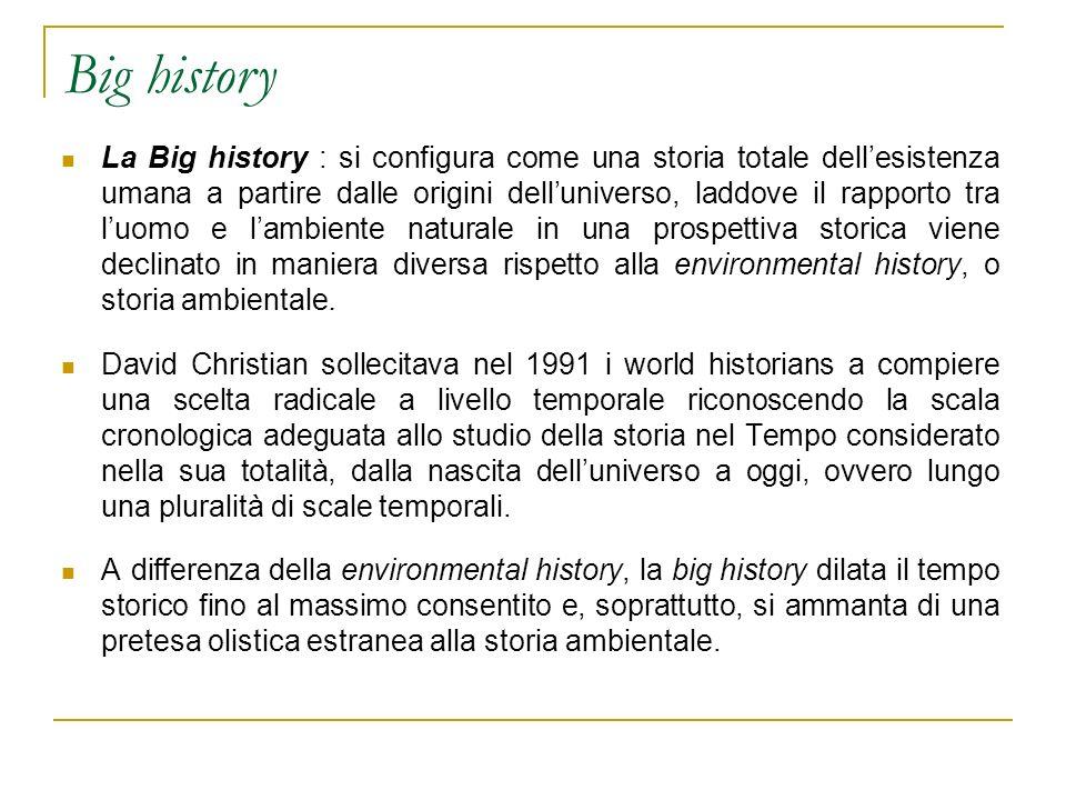 Big history La Big history : si configura come una storia totale dellesistenza umana a partire dalle origini delluniverso, laddove il rapporto tra luo