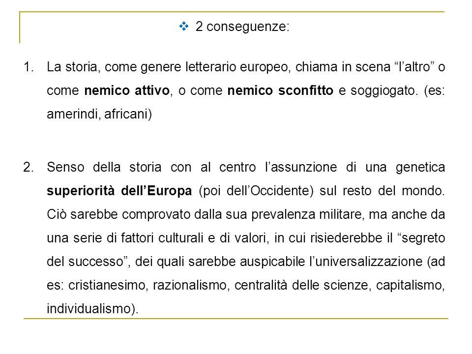2 conseguenze: 1.La storia, come genere letterario europeo, chiama in scena laltro o come nemico attivo, o come nemico sconfitto e soggiogato. (es: am