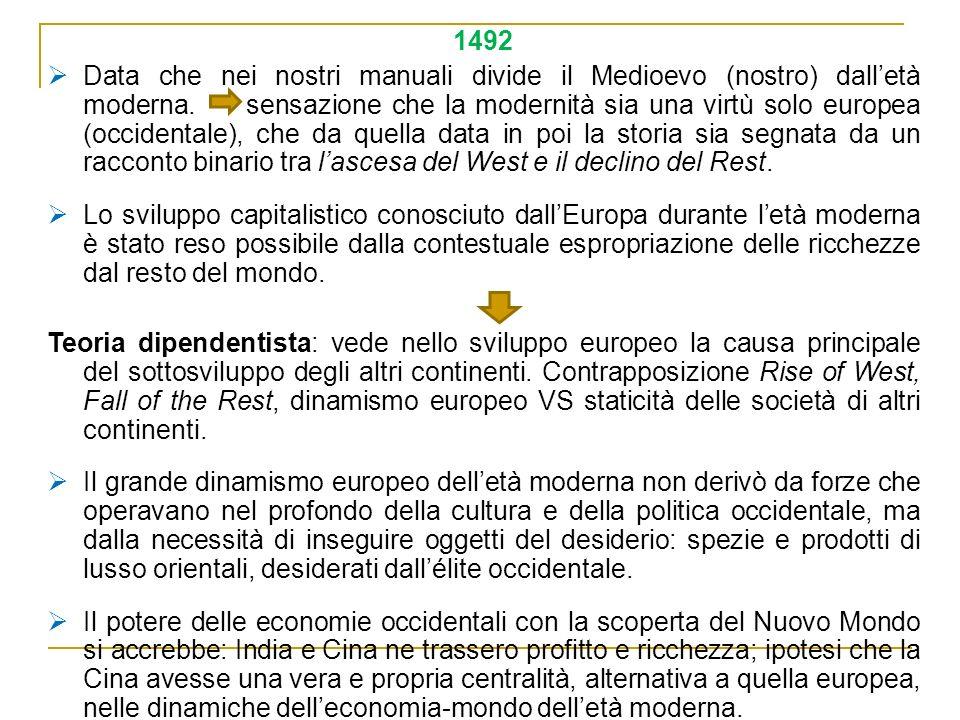 1492 Data che nei nostri manuali divide il Medioevo (nostro) dalletà moderna. sensazione che la modernità sia una virtù solo europea (occidentale), ch