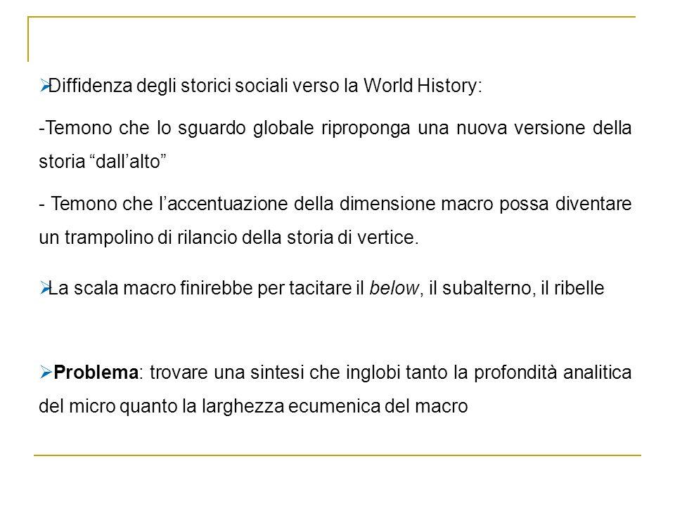 Diffidenza degli storici sociali verso la World History: -Temono che lo sguardo globale riproponga una nuova versione della storia dallalto - Temono c