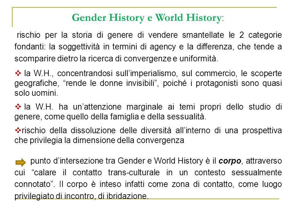 Gender History e World History : rischio per la storia di genere di vendere smantellate le 2 categorie fondanti: la soggettività in termini di agency
