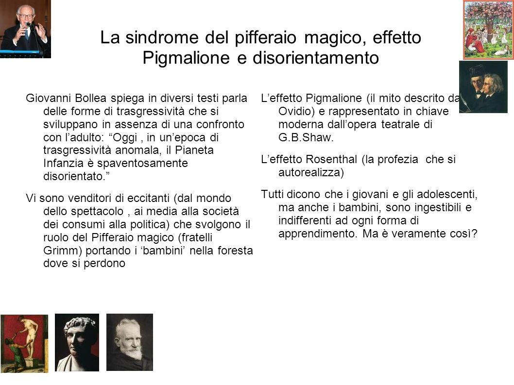 La sindrome del pifferaio magico, effetto Pigmalione e disorientamento Giovanni Bollea spiega in diversi testi parla delle forme di trasgressività che