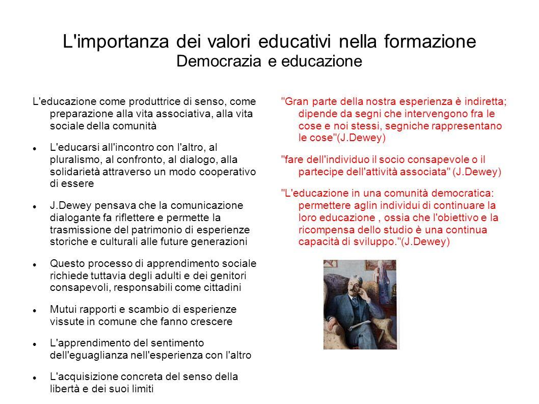 L'importanza dei valori educativi nella formazione Democrazia e educazione L'educazione come produttrice di senso, come preparazione alla vita associa