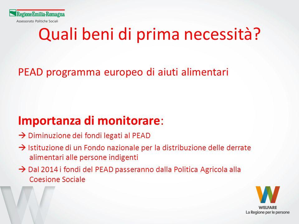Quali beni di prima necessità? PEAD programma europeo di aiuti alimentari Importanza di monitorare: Diminuzione dei fondi legati al PEAD Istituzione d