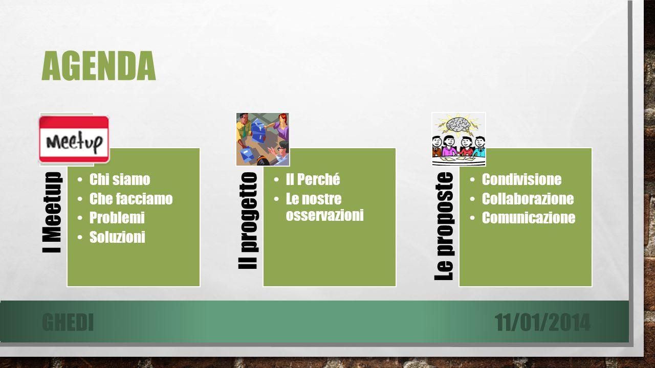 AGENDA I Meetup Chi siamo Che facciamo Problemi Soluzioni Il progetto Il Perché Le nostre osservazioni Le proposte Condivisione Collaborazione Comunicazione 11/01/2014GHEDI
