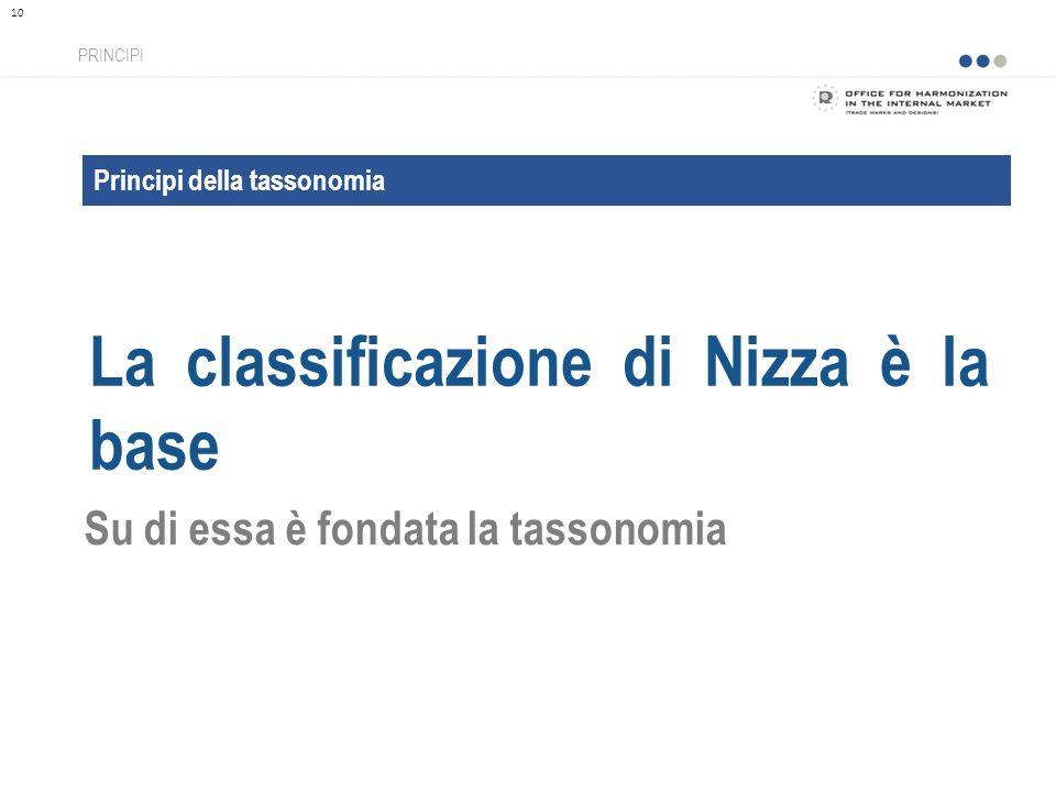 Principi della tassonomia La classificazione di Nizza è la base PRINCIPI 10 Su di essa è fondata la tassonomia