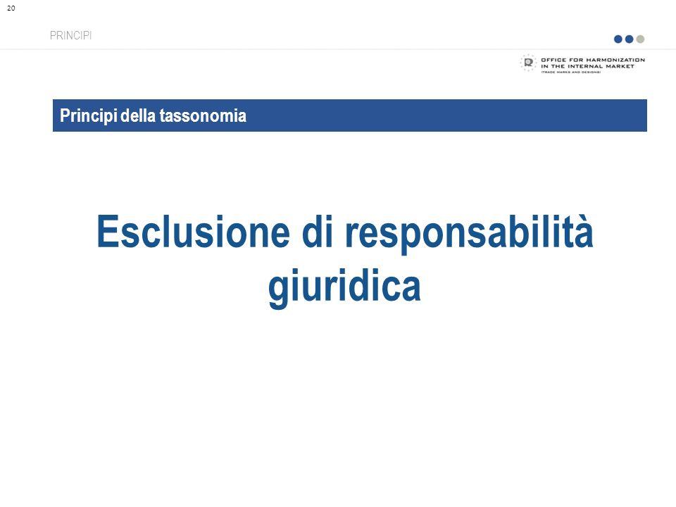 Principi della tassonomia Esclusione di responsabilità giuridica PRINCIPI 20