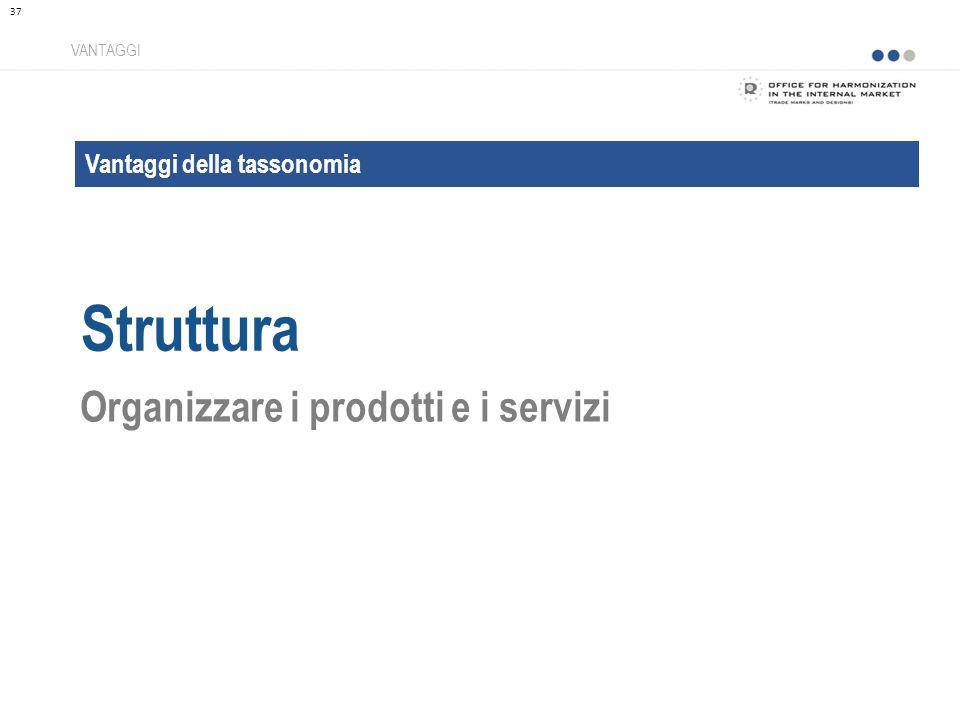 Vantaggi della tassonomia Struttura VANTAGGI Organizzare i prodotti e i servizi 37