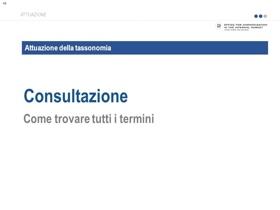 Attuazione della tassonomia Consultazione ATTUAZIONE Come trovare tutti i termini 48