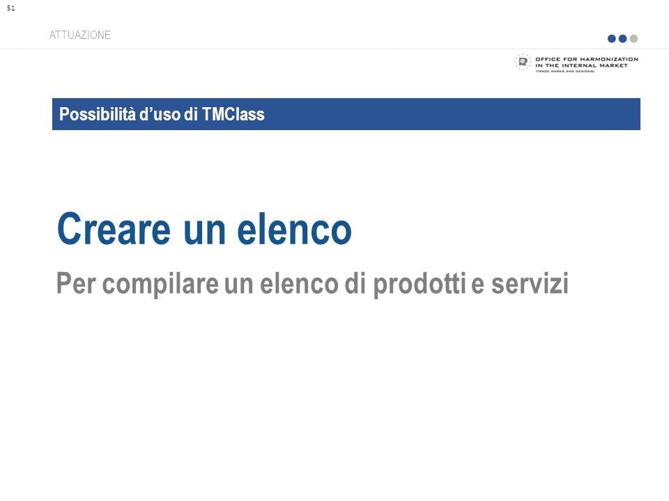 Possibilità duso di TMClass Creare un elenco ATTUAZIONE Per compilare un elenco di prodotti e servizi 51