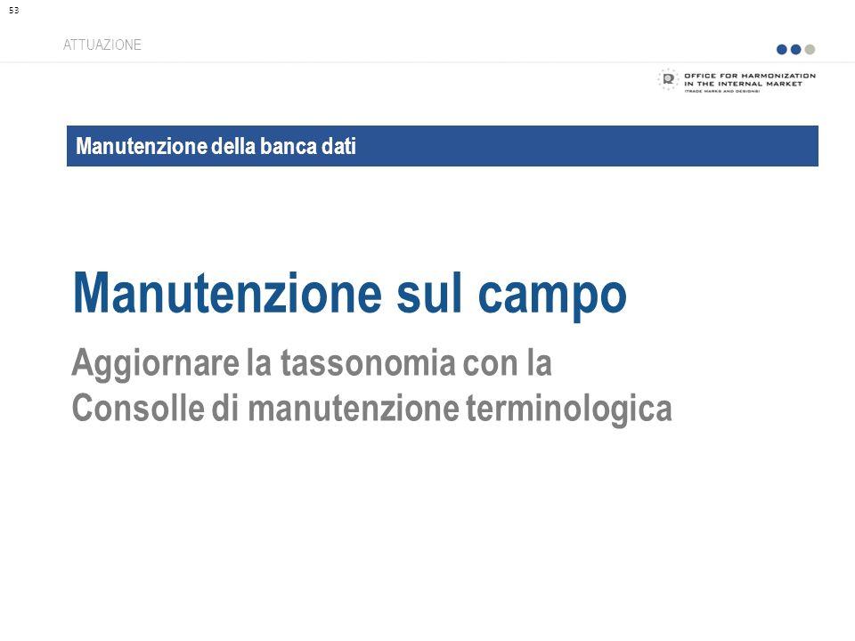 Manutenzione della banca dati Manutenzione sul campo ATTUAZIONE Aggiornare la tassonomia con la Consolle di manutenzione terminologica 53