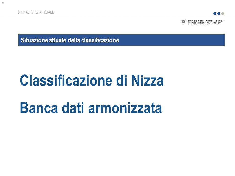 Classificazione di Nizza SITUAZIONE ATTUALE Situazione attuale della classificazione Banca dati armonizzata 6