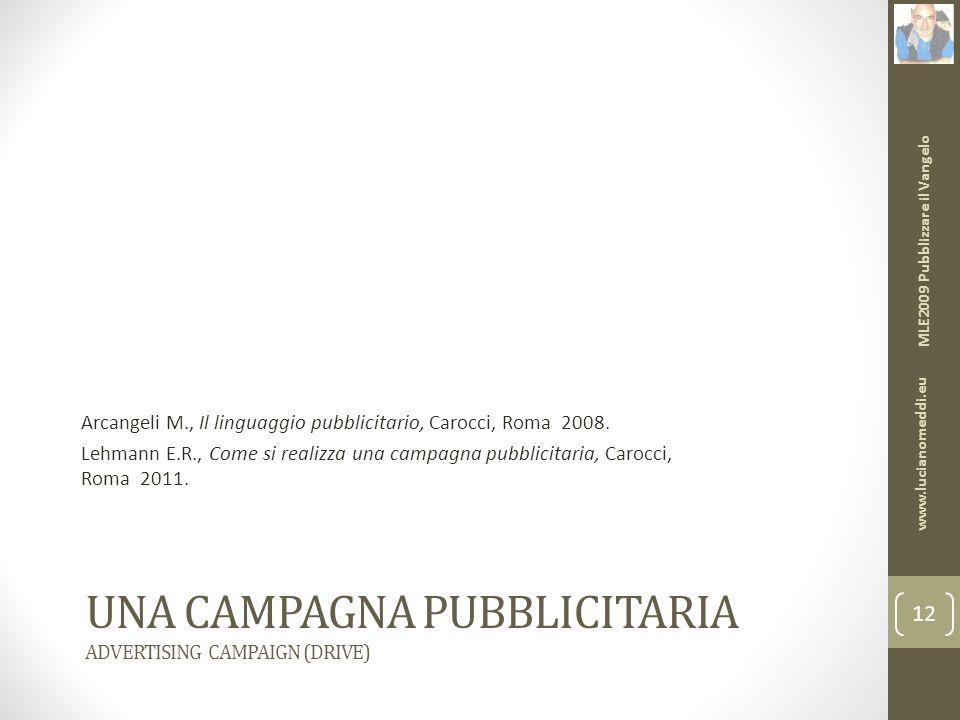 UNA CAMPAGNA PUBBLICITARIA ADVERTISING CAMPAIGN (DRIVE) Arcangeli M., Il linguaggio pubblicitario, Carocci, Roma 2008.