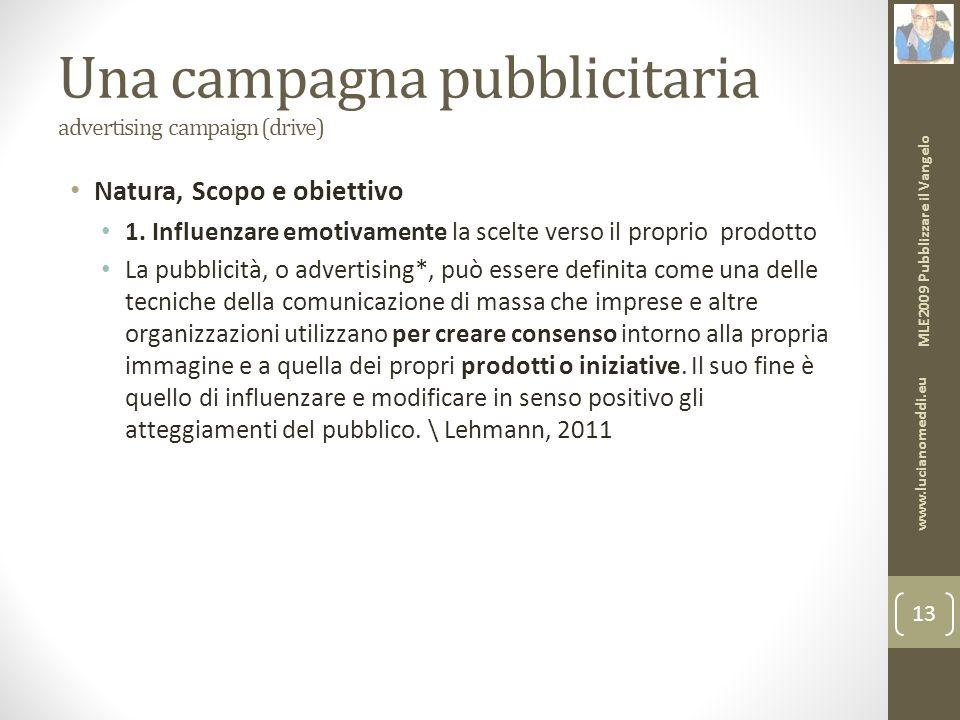 Una campagna pubblicitaria advertising campaign (drive) Natura, Scopo e obiettivo 1.