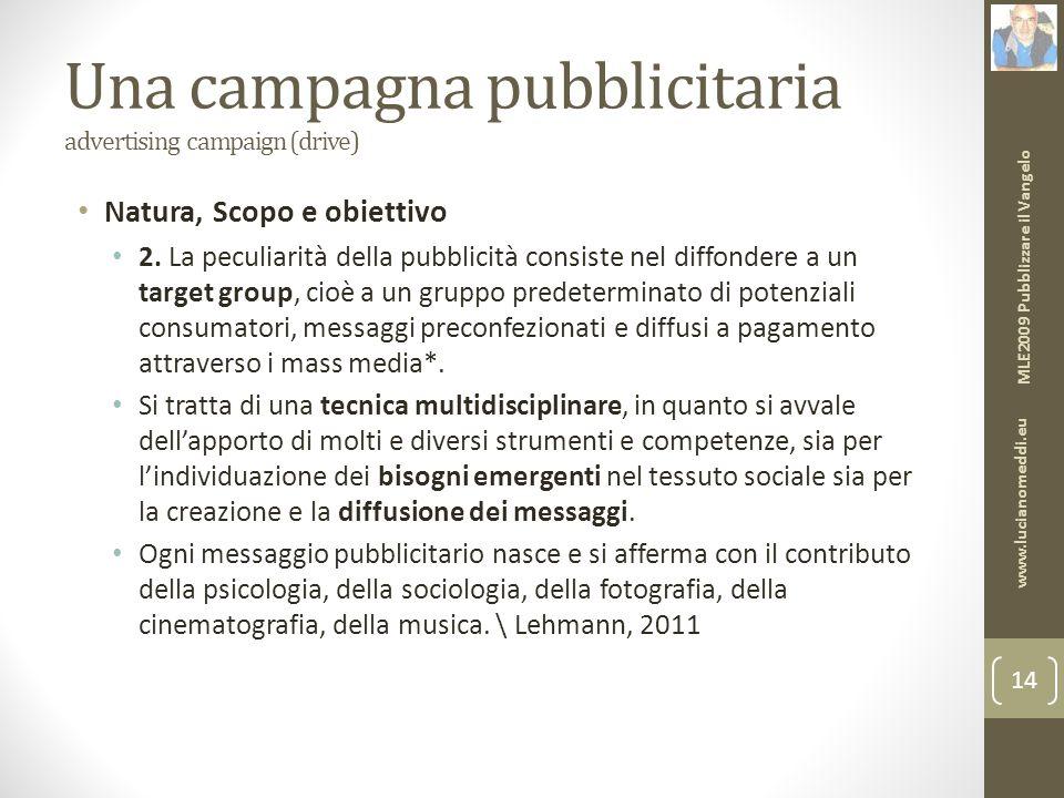 Una campagna pubblicitaria advertising campaign (drive) Natura, Scopo e obiettivo 2.