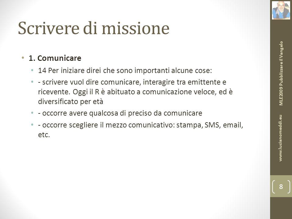 Scrivere di missione 1.