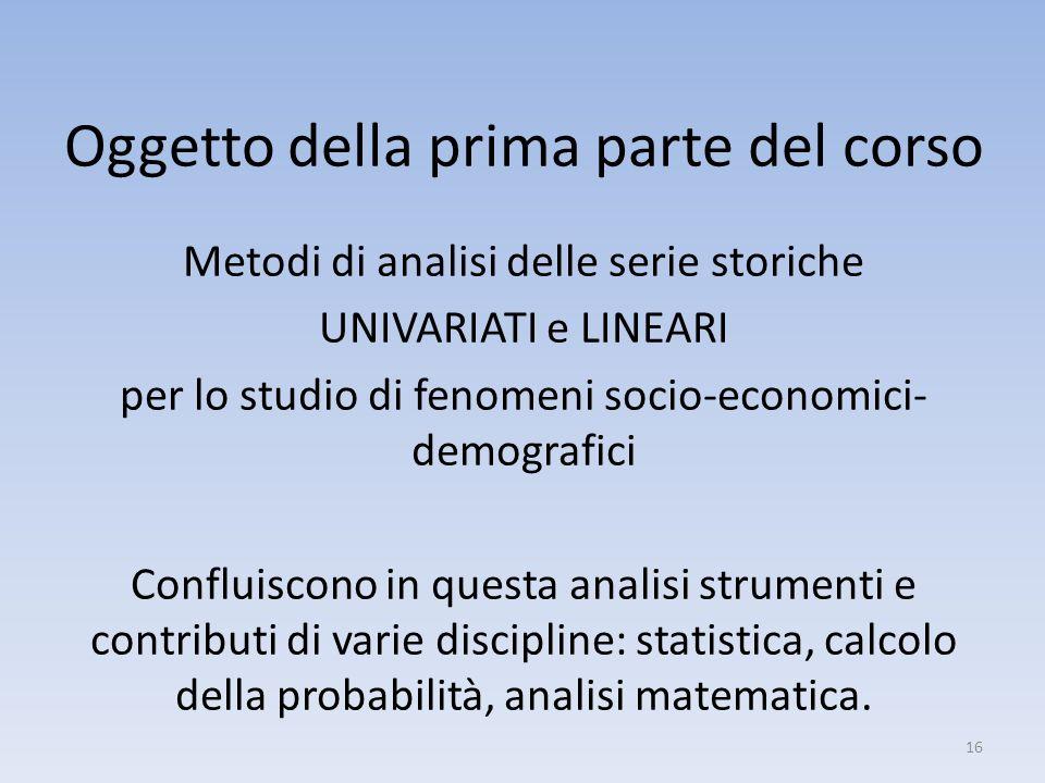 Oggetto della prima parte del corso Metodi di analisi delle serie storiche UNIVARIATI e LINEARI per lo studio di fenomeni socio-economici- demografici