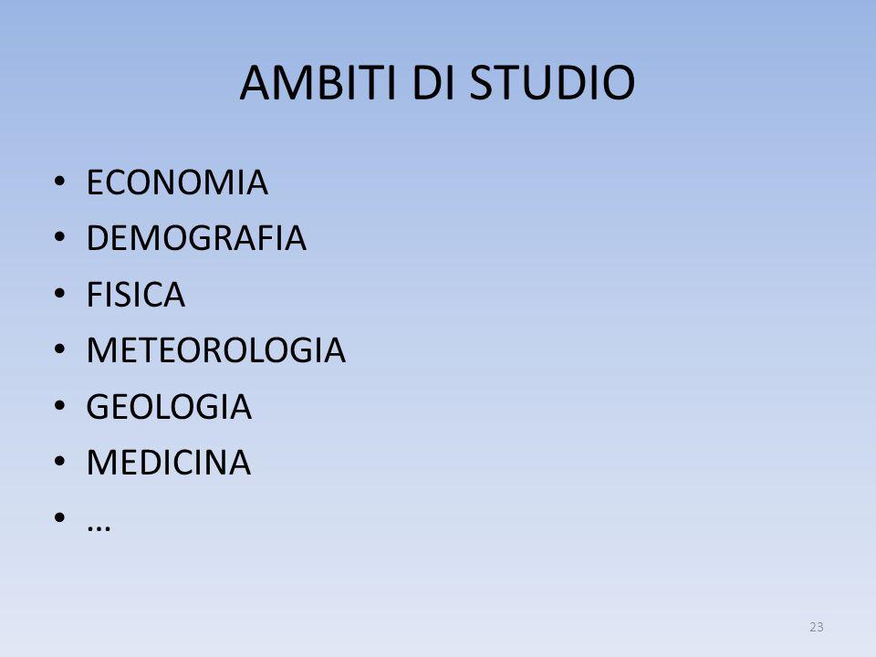 AMBITI DI STUDIO ECONOMIA DEMOGRAFIA FISICA METEOROLOGIA GEOLOGIA MEDICINA … 23