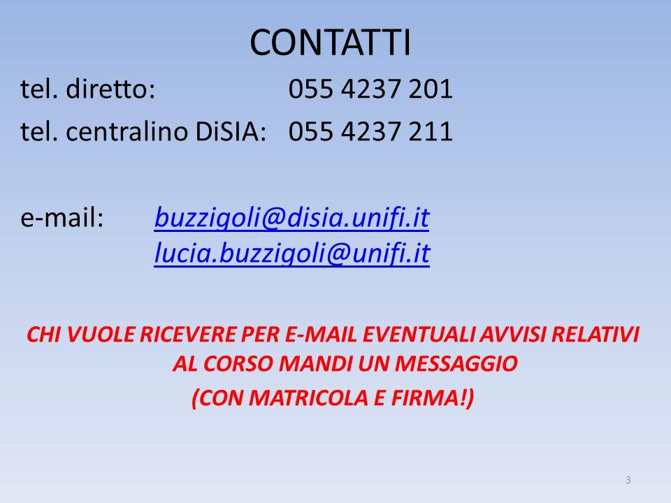 CONTATTI tel. diretto: 055 4237 201 tel. centralino DiSIA: 055 4237 211 e-mail: buzzigoli@disia.unifi.it lucia.buzzigoli@unifi.itbuzzigoli@disia.unifi