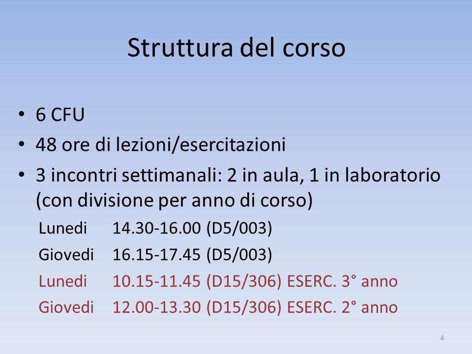 Struttura del corso 6 CFU 48 ore di lezioni/esercitazioni 3 incontri settimanali: 2 in aula, 1 in laboratorio (con divisione per anno di corso) Lunedi