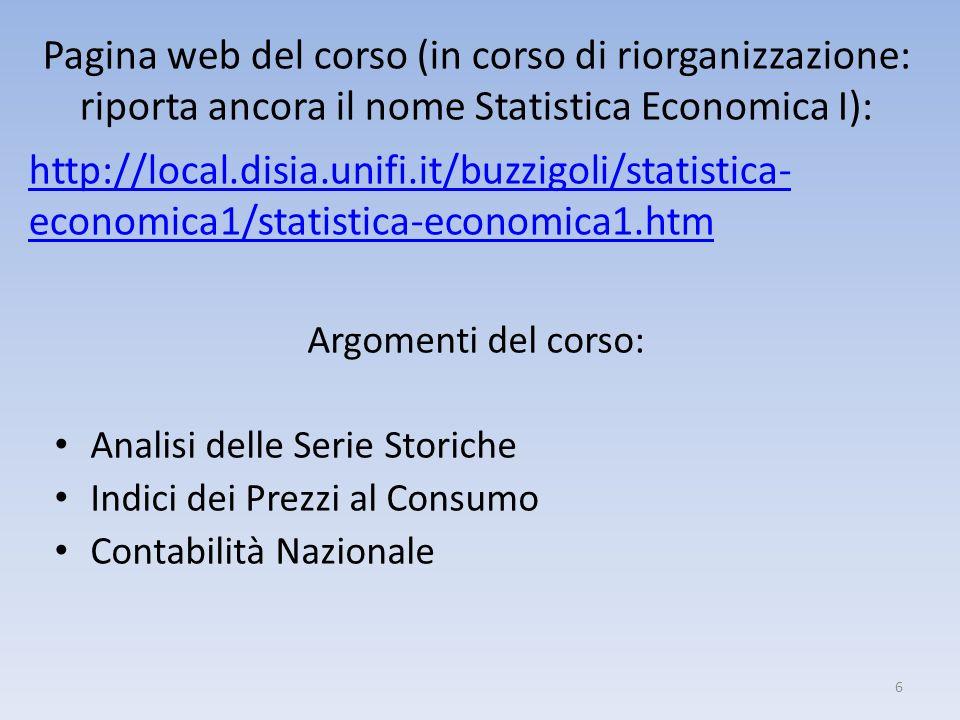 Argomenti del corso: Analisi delle Serie Storiche Indici dei Prezzi al Consumo Contabilità Nazionale Pagina web del corso (in corso di riorganizzazion