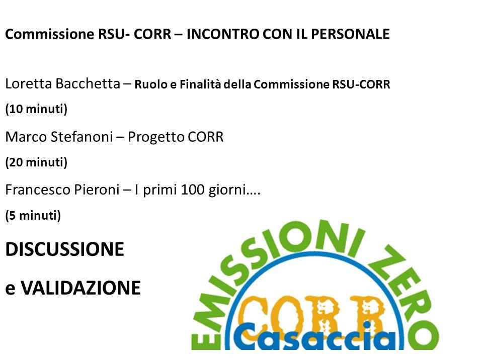 Commissione RSU- CORR – INCONTRO CON IL PERSONALE Loretta Bacchetta – Ruolo e Finalità della Commissione RSU-CORR (10 minuti) Marco Stefanoni – Proget