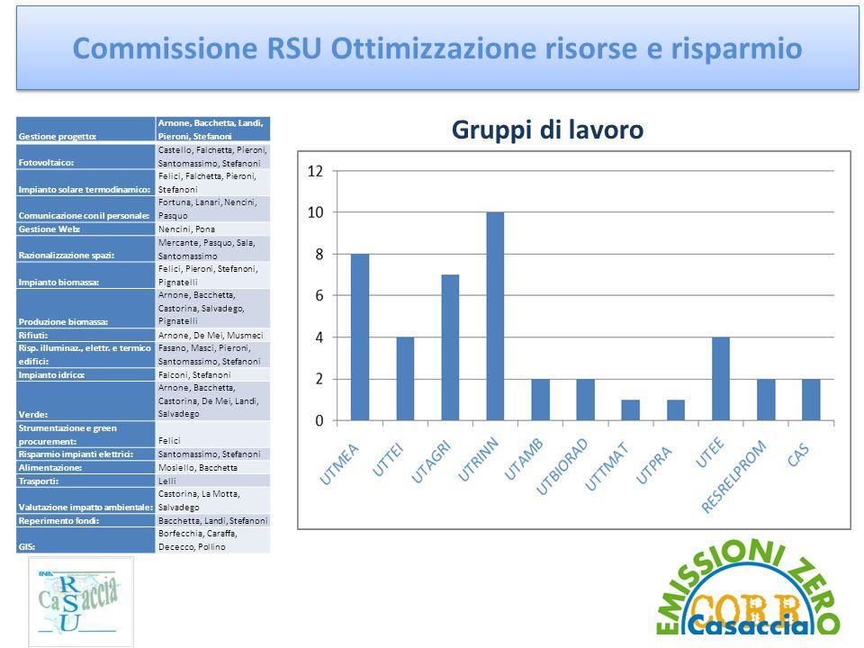 Commissione RSU Ottimizzazione risorse e risparmio Gestione progetto: Arnone, Bacchetta, Landi, Pieroni, Stefanoni Fotovoltaico: Castello, Falchetta,