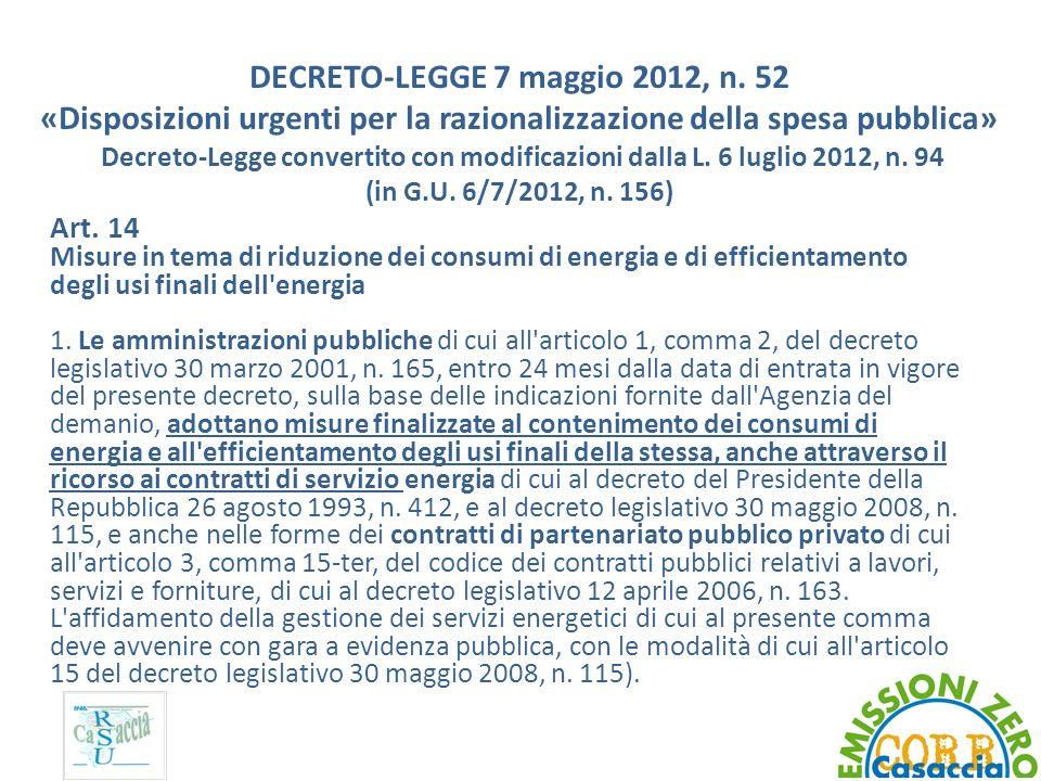DECRETO-LEGGE 7 maggio 2012, n. 52 «Disposizioni urgenti per la razionalizzazione della spesa pubblica» Decreto-Legge convertito con modificazioni dal