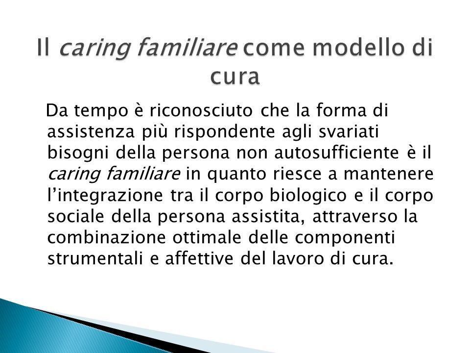 Da tempo è riconosciuto che la forma di assistenza più rispondente agli svariati bisogni della persona non autosufficiente è il caring familiare in qu