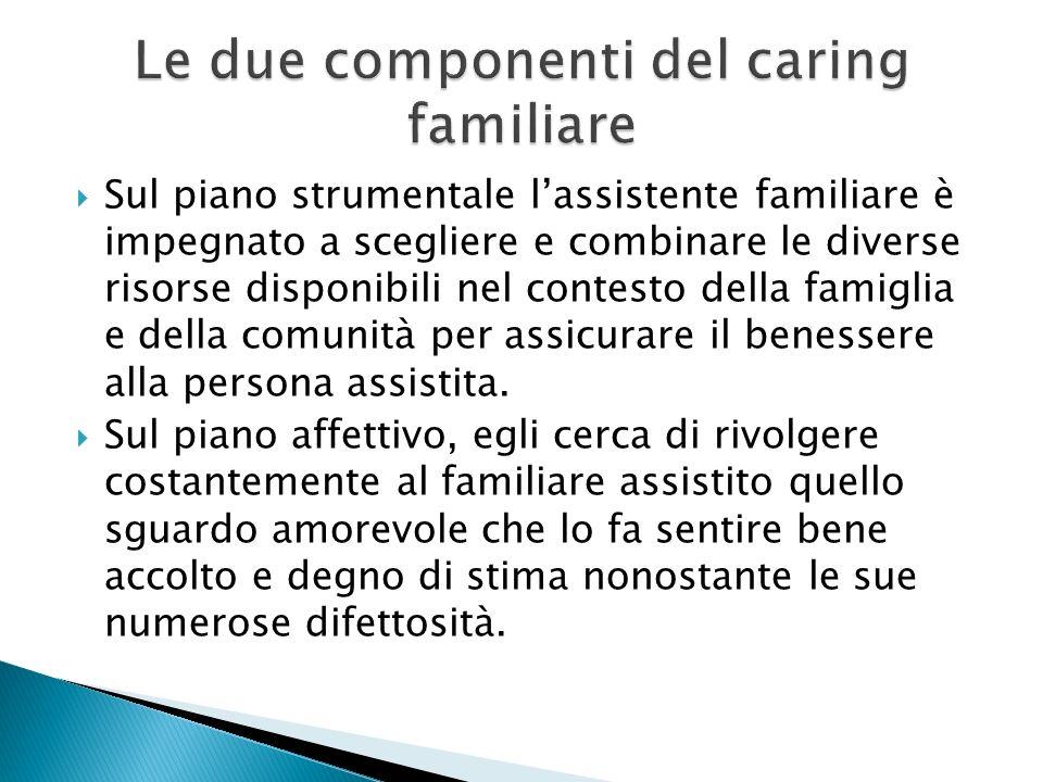 Sul piano strumentale lassistente familiare è impegnato a scegliere e combinare le diverse risorse disponibili nel contesto della famiglia e della com