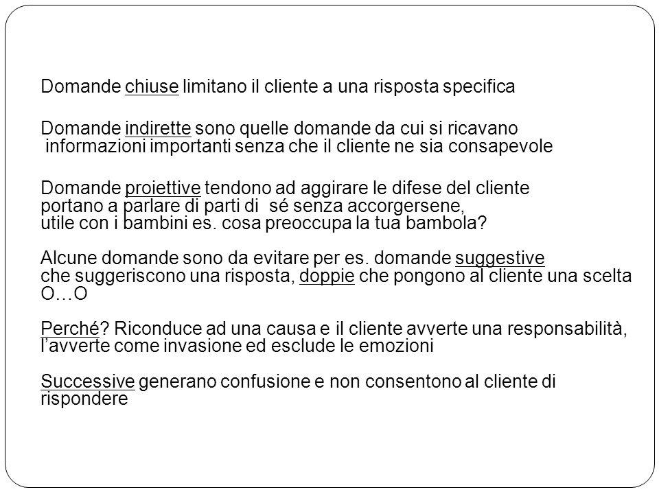 Domande chiuse limitano il cliente a una risposta specifica Domande indirette sono quelle domande da cui si ricavano informazioni importanti senza che