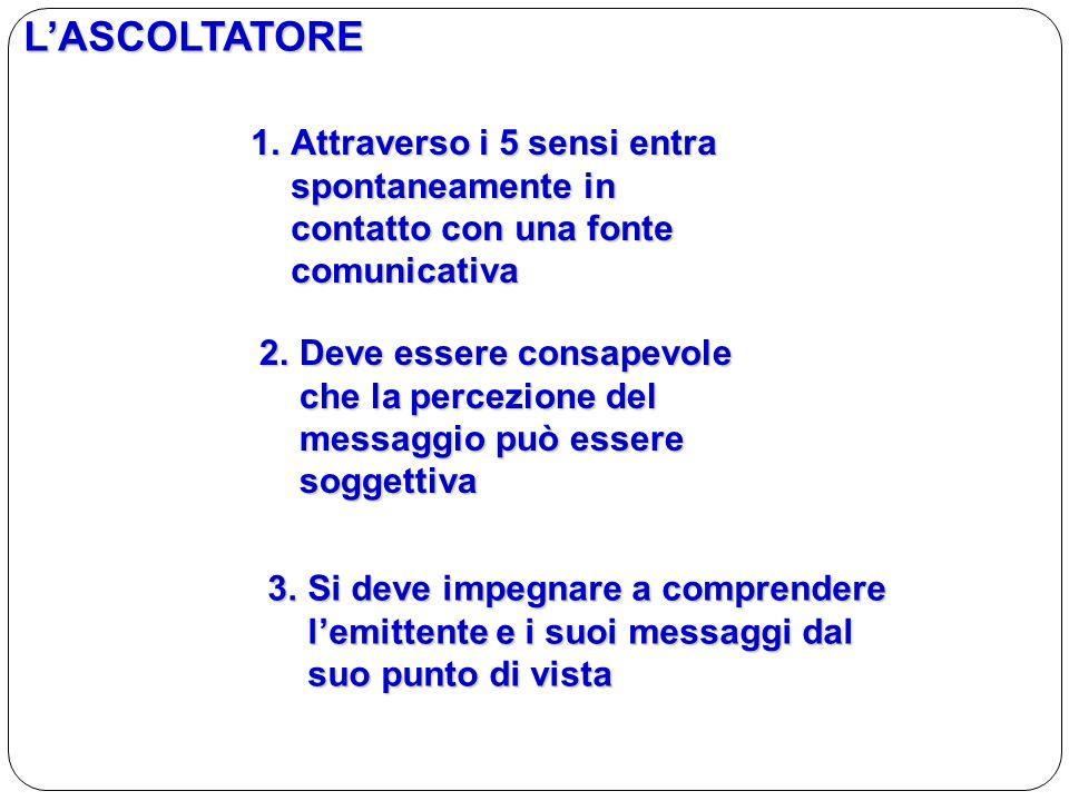 LASCOLTATORE 1.Attraverso i 5 sensi entra spontaneamente in contatto con una fonte comunicativa 2.Deve essere consapevole che la percezione del messag