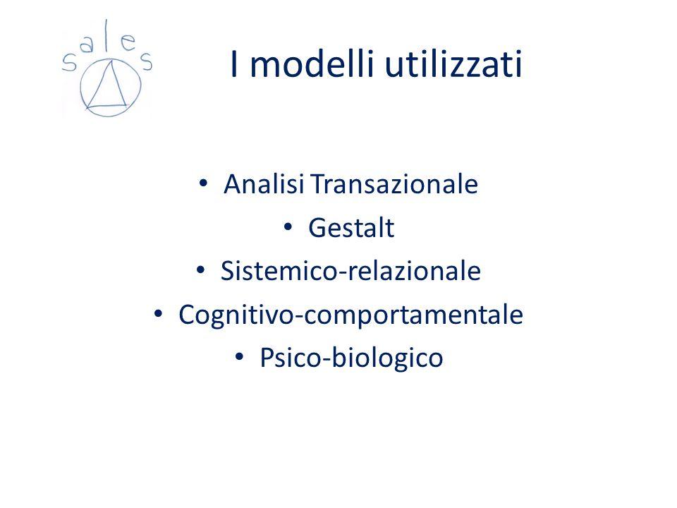 I modelli utilizzati Analisi Transazionale Gestalt Sistemico-relazionale Cognitivo-comportamentale Psico-biologico