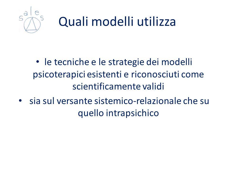 Quali modelli utilizza le tecniche e le strategie dei modelli psicoterapici esistenti e riconosciuti come scientificamente validi sia sul versante sis