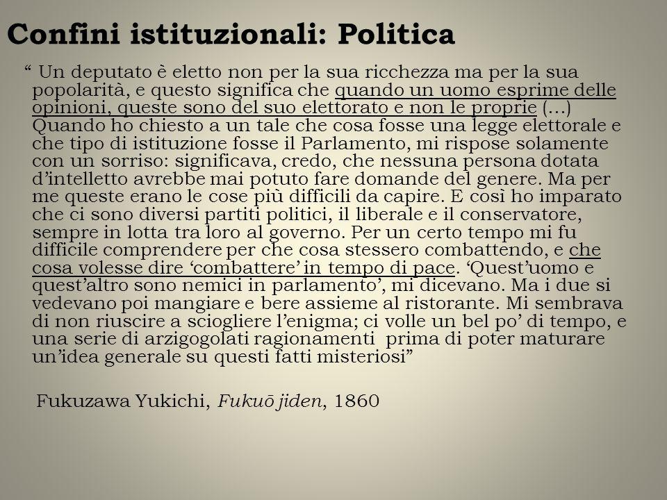 Confini istituzionali: Politica Un deputato è eletto non per la sua ricchezza ma per la sua popolarità, e questo significa che quando un uomo esprime