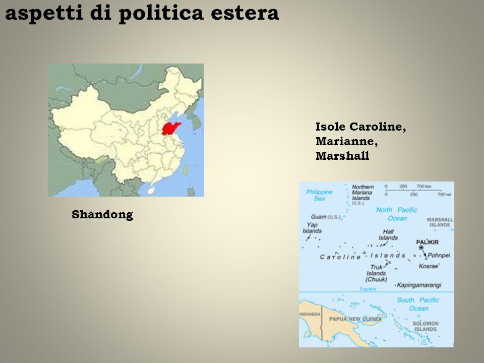 aspetti di politica estera Shandong Isole Caroline, Marianne, Marshall