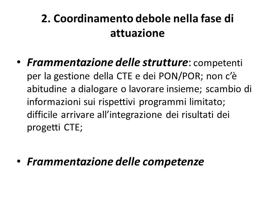 2. Coordinamento debole nella fase di attuazione Frammentazione delle strutture: competenti per la gestione della CTE e dei PON/POR; non cè abitudine