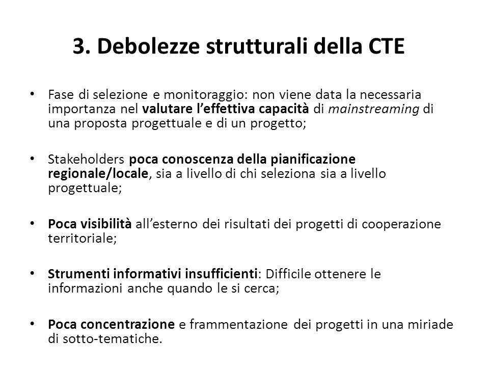 3. Debolezze strutturali della CTE Fase di selezione e monitoraggio: non viene data la necessaria importanza nel valutare leffettiva capacità di mains
