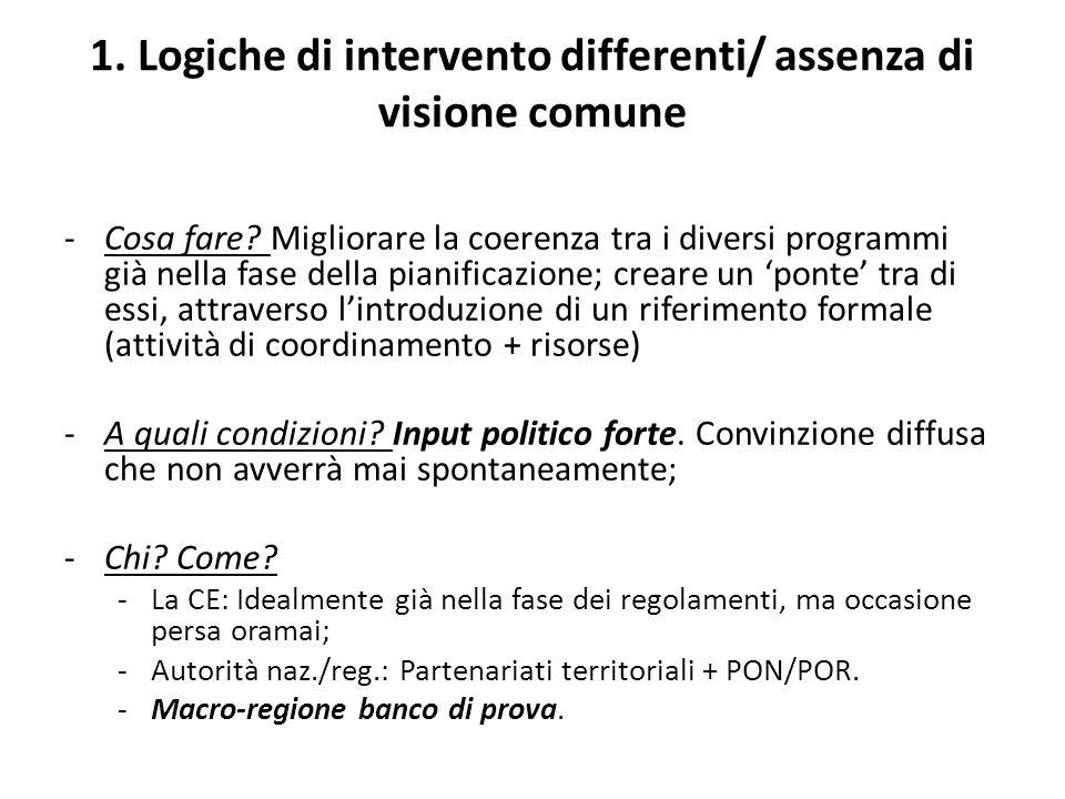 1. Logiche di intervento differenti/ assenza di visione comune -Cosa fare.