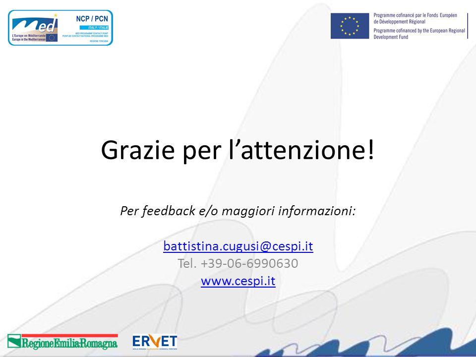 Grazie per lattenzione. Per feedback e/o maggiori informazioni: battistina.cugusi@cespi.it Tel.