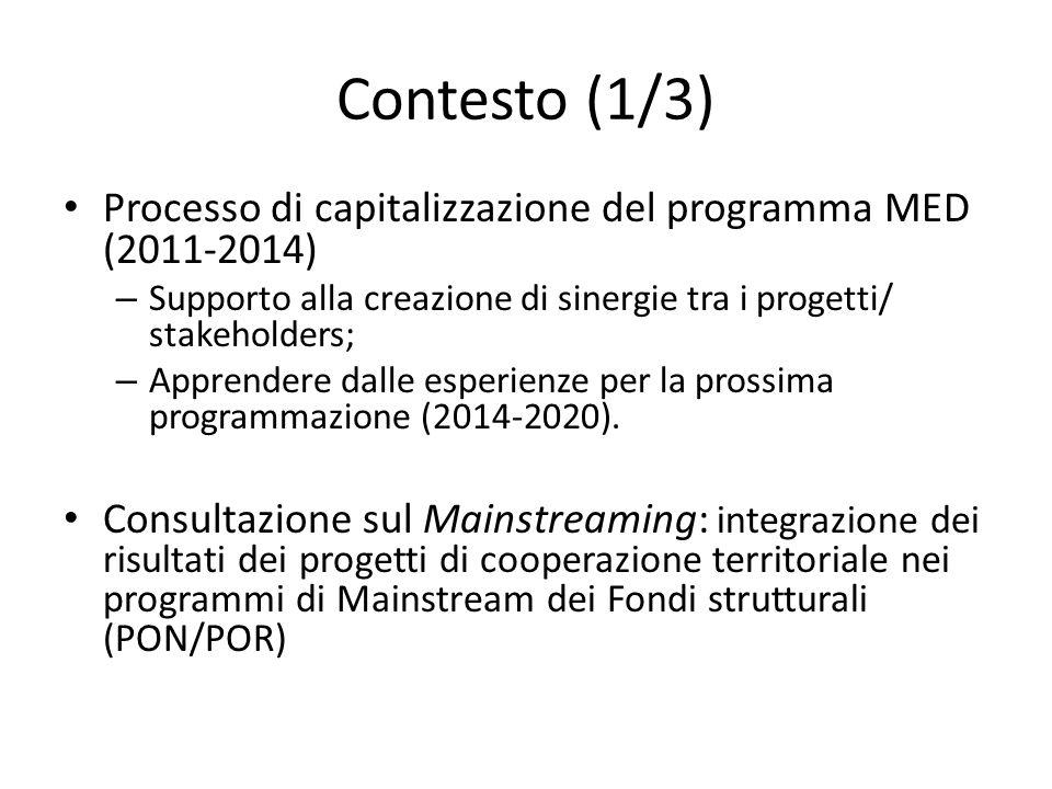 Contesto (1/3) Processo di capitalizzazione del programma MED (2011-2014) – Supporto alla creazione di sinergie tra i progetti/ stakeholders; – Apprendere dalle esperienze per la prossima programmazione (2014-2020).